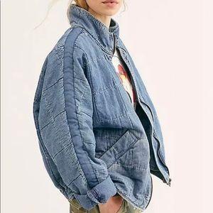 Free People Dolman Quilted Jacket Cali Indigo NWT